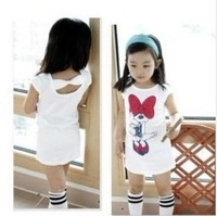 Free shipping! baby girls minnie design baby sweet mini dress 2013 summer female child short sleeve length t-shirt top 5pcs/lots