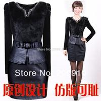 2014 spring Winter plus size female slim hip  rabbit fur gold velvet PU short basic leather leather one-piece dress