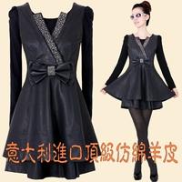 2014 female plus size4XL slim rhinestones pew short basic PU one-piece dress