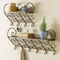 Rustic wall mount shelf key hang iron coat rack hangers