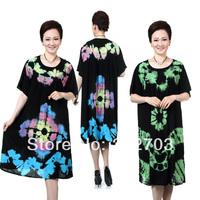 Plus size quinquagenarian women's summer short-sleeve dress 100% cotton nightgown plus size skirt
