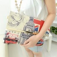 2014 women's handbag fashion vintage print envelope bag day clutch multifunctional messenger bag small bag