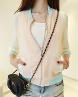 2014 spring and summer fashion candy color patchwork color block short design chiffon shirt jacket baseball uniform sun