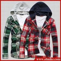 2014 new arrival autumn men's clothing fashion cotton shirts long-sleeved hoodies shirts casual Plaid slim shirt Free shipping