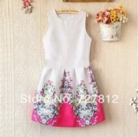 2014 new Korean ladies round neck sleeveless vest bottoming Slim flower print dress high quality free shipping