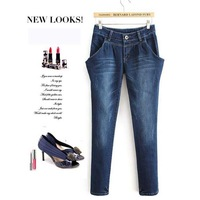 2014 spring summer women's zipper denim jeans long trousers ladies loose harem pencil pants plus size Blue 666# Free shipping!