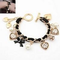 Free shipping pulseira de leopardo hot sale vintage rhinestone pendant jewelry golden bangle fashion leopard bracelet one piece