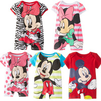 Wholesale Baby Summer clothes Infant newborn Baby rompers Cartoon mickey Minnie Jumpsuits Short Sleeve Romper 3-18M baby
