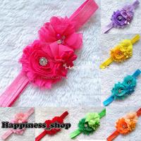 12pcs/lot Infant baby Girls Headbands Chiffon shabby pearl Flower Hairband Headwear Hair accessory photograph progs