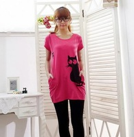 2014 new arrival women's with pocket plus size o neck long t shirt fashion casual loose print cat short sleeve shirt