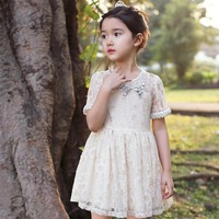 pearl collar lace girl crochet baby princess kids short sleeved tulle knitted cotton dress cute toddler sundresses girl clothes