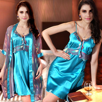 Silk sleepwear female summer sexy lounge set 100% cotton spaghetti strap nightgown female robe twinset