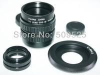 Black 35mm f1.7 CCTV Lens + C Mount + 2 Marco Rings for Nikon 1 V1 J1 V2 J2
