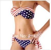 1 pcs Stars and Stripes Pattern Fashion Sexy With Cup Swimwear Swimsuit Shoulder Strap Bikini Women Sexy Swim Wear Biquini