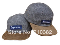 2014 new supreme Harris Tweed camp cap five panel box logo baseball strapback hats for men 5 color