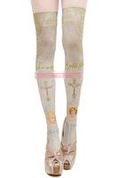 Princess sweet lolita stockings Japanese harajuku print knee-high stockings cross and angle grimoire tights sacred white church