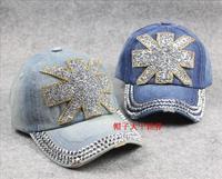 Three-color hat female fashion flag torx diamond sun-shading summer cowboy hat cap baseball cap