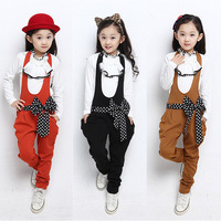 Children's clothing female child 2014 spring child polka dot bib pants basic shirt twinset casual set