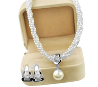 Luxury Ivory Pearl Drop Wedding Bridesmaid Jewelry Necklace Earrings Set Silver Plating