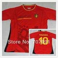 2014/15 WC High Thailand Quality Belgium Home Red Hazard 10 Football Jerseys Uniforms Shirts Embroidery Logo