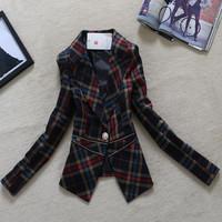 [R&V] 2014 spring and autumn women outerwear plus size suit fashion vintage plaid zipper one button blazer RS6499