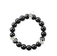 Wholesale price women gift Pure manual weaving hand catenary Three crystal head black agate bracelet tsb0041