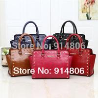 2014 New Top Bags For Women Fashion Rivet Messenger Bags Shoulder Bag Women Versatile Zipper Totes 5 Color