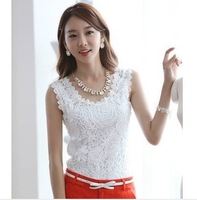 New Spring 2014 Women Crochet Blouse Lace Chiffon Shirt Women Clothing Basic Shirt Vintage Blusas Femininas Blouses & Shirts