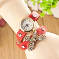 Fashion Golden Leather Vintage Watches bracelet Retro Dress Butterfly Diamond stone crystal Wings Quartz women ladies Watch