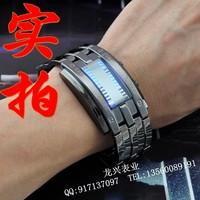 2014 free shipping Led personality men's black metal watchband fashion waterproof cf accustoming