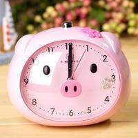 Cartoon pig lounged child night light voice mute alarm clock