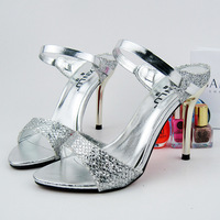 Women's shoes gold serpentine pattern open toe shoe summer open toe sandals all-match silver high-heeled shoes