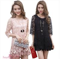 Free Shipping! Women Brief 2014 Spring and Summer Formal Gentlewomen Chiffon  Lace Dress,Female Fashion Dresses XL XXL XXXL 4XL