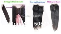 "4X4"" Lace Closure Brazilian Virgin Hair Straight 3 Way Part Middle Part Bleached Knots Queen Hair Top Closure"