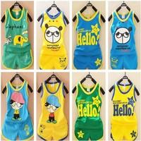 Retail ! New 2014 summer vest suits of children's Children suits 2pcs Tracksuits Children summer suit  ST082
