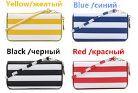 Women Leather Purse Navy Style Ladies PU Leather wallet 2014 New Fashion Striped Clutch Hit Color Long Section Wallets for women