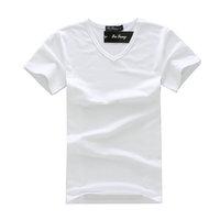 New Fashion Slim Fit Cotton Stylish V Neck Short Sleeve Casual Men T Shirts Free Shipping