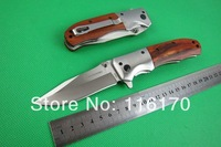 New 2014 Browning DA51 quick open folding knife wooden handle 56HRC 5Cr13 Tactical survival Knives Camping tools Free shipping
