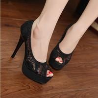 Big disount last sell ,Women's Fashion Band Hollow fish head sandals Zip-Back Platform Wedge High Heel Shoes Sandals,Black,Pinks