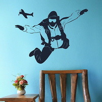 Skydiving Sport  Wall  Art  Decor  Vinly  Adhesive Wall Sticker Paper Wall Mural Home Decal