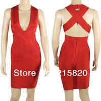 Wholesale Sexy deep v neck back criss cross bodycon 2014 bandage dress celebrity dresses Red/Apricot/Grey