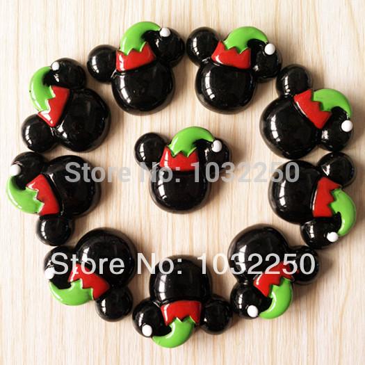 50pcs de Natal Mickey Minnie Mouse no Elf Hat Resina Cabochon Flatbacks apartamento de volta arco de cabelo Centro de Artesanato Fazer BXT227 DIY(China (Mainland))