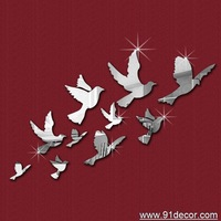 10 pigeons fly  wall sticker mirror sticker home decoration for gift and global free shipping !