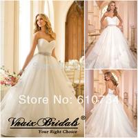 WV6003 Fashion Elegant Sweetheart Pleat Organza Ball Gown Wedding Dress Crystal Beaded Belt