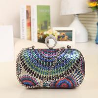 new coming shining diamond rhinestone evening clutch women's handbag paillette flower clutch chain bag
