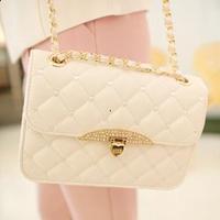 2014 women's summer handbag small sachet top quality plaid bag chain bag messenger mini white bag free shipping