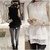 2014 new women's Fashion camisole Elegant hollow out feminina renda blusa stand collar Lace Blouses blusinha casual shirt B37
