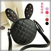 2014 women's handbag rabbit ear bags cartoon rivet shoulder bags mini small black PU Leather messenger bag