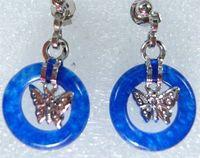 biue  Jade circle  Butterfly Pendant Earrings