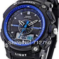 2014 Relogio Fashion OHSEN Men Analog Digital LCD Dual Time Date Day Alarm Chronograph Rubber Strap Sport Quartz Wrist Watch